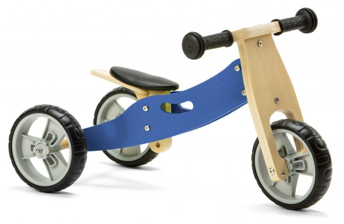 Nicko Mini 2 in 1 Blue Wooden Balance Running Bike Trike